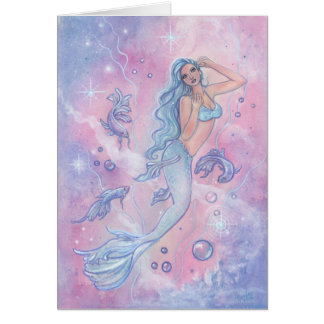 Frosty betta mermaid greeting card by Renee