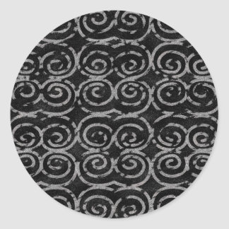 Frosty Black and White Pattern Classic Round Sticker