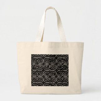 Frosty Black and White Pattern Large Tote Bag
