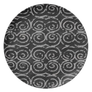 Frosty Black and White Pattern Party Plates