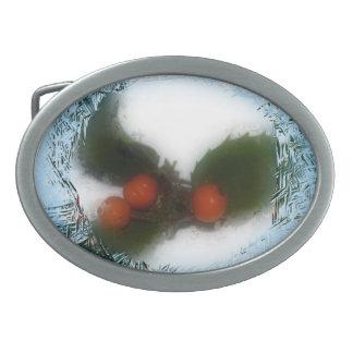 Frosty Blue Christmas Holly Belt Buckle