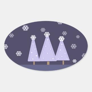 Frosty Blue Christmas Trees Oval Sticker
