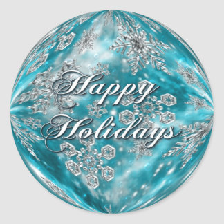 Frosty Blue Snowflake Bubble Holiday Stickers