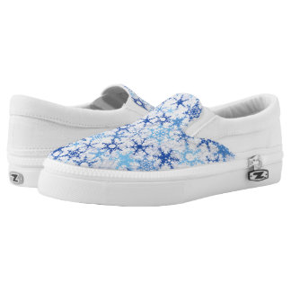Frosty Blue Snowflakes Slip-On Sneakers