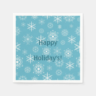 Frosty Blue Snowflakes Winter Holidays Celebration Paper Napkins