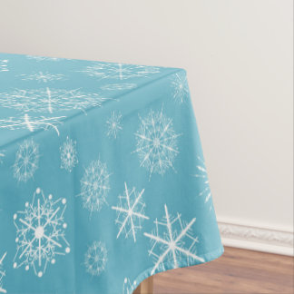 Frosty Blue Snowflakes Winter Holidays Celebration Tablecloth