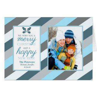 Frosty Blue Stripes Photo Folded Holiday Greeting Card
