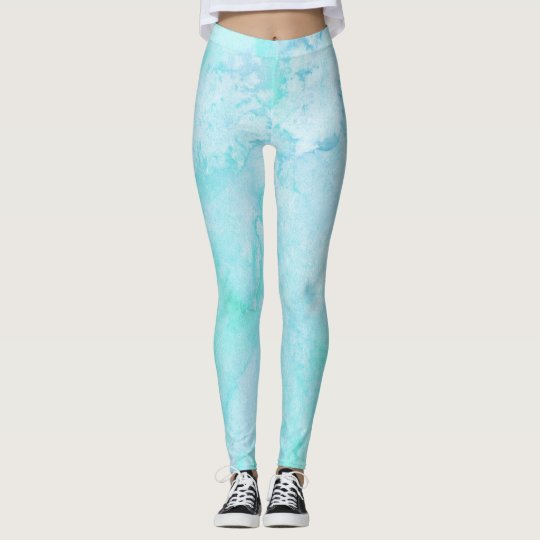 Frosty Blue Watercolor Abstract Design Leggings