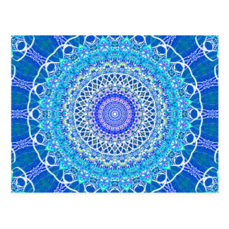 Frosty Blue Windows Kaleidoscope Postcard