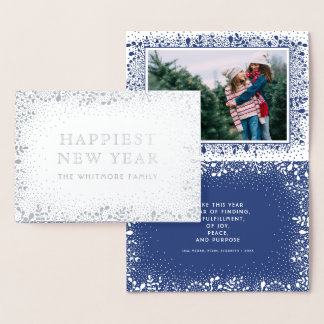 Frosty Branches Holiday Photo Foil Card