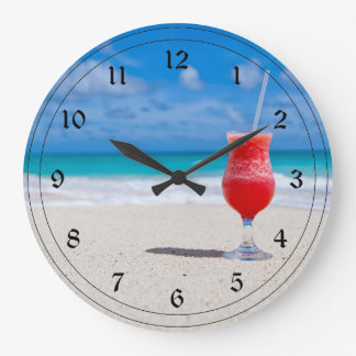 Frosty Drink on the Beach Large Clock