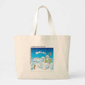 Frosty Fights The Flu Funny Christmas Gifts & Tees Large Tote Bag