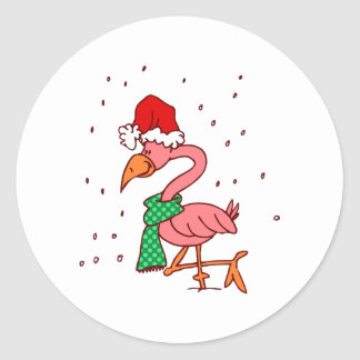 Frosty Flamingo Round Sticker