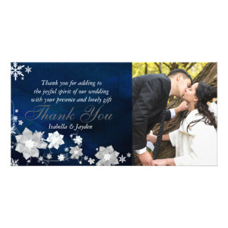 Frosty Floral Winter Wedding Thank You Photo Card