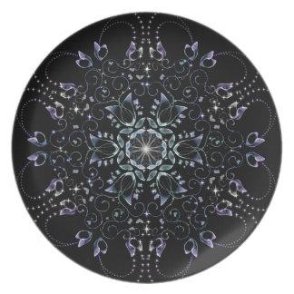 Frosty flowers plate