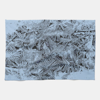 Frosty forest light blue pattern abstract design hand towels