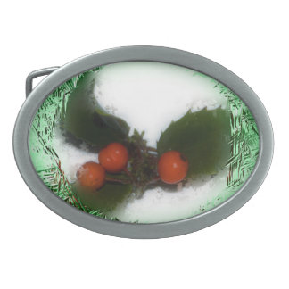 Frosty Green Christmas Holly Belt Buckle