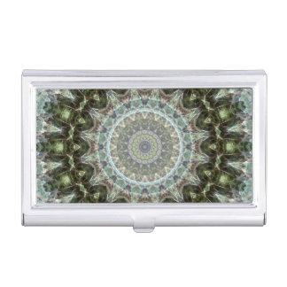 Frosty Green Leaf Grey and Green Mandala Business Card Holder