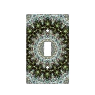Frosty Green Leaf Mandala Art Designer Light Switch Cover