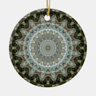 Frosty Green Leaf Mandala Ceramic Ornament