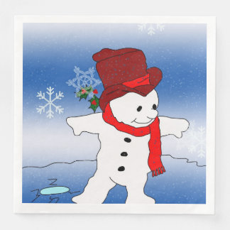 Frosty in Red Disposable Napkins
