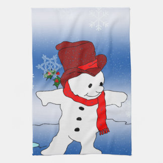 Frosty in Red Kitchen Towel