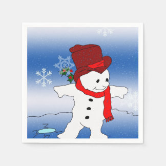 Frosty in Red Paper Napkins
