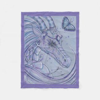 Frosty lavender dragon  butterfly fleece blanket