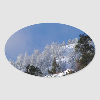 Frosty Mountain Oval Sticker