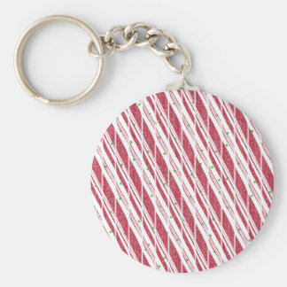Frosty Red Candy Cane Pattern Basic Round Button Keychain