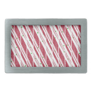 Frosty Red Candy Cane Pattern Belt Buckles