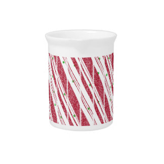 Frosty Red Candy Cane Pattern Beverage Pitcher