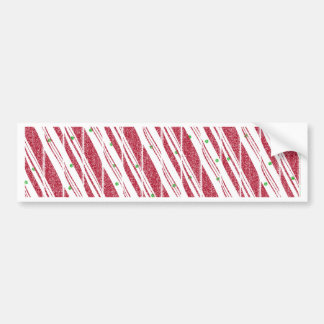 Frosty Red Candy Cane Pattern Bumper Sticker