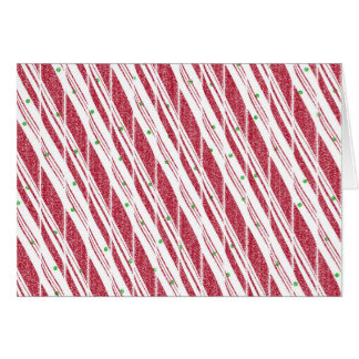 Frosty Red Candy Cane Pattern Card
