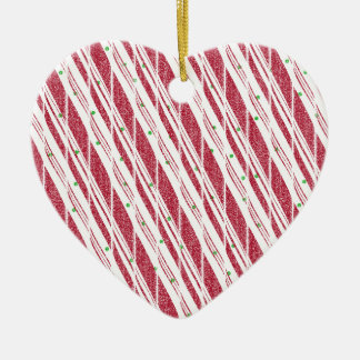 Frosty Red Candy Cane Pattern Ceramic Heart Ornament