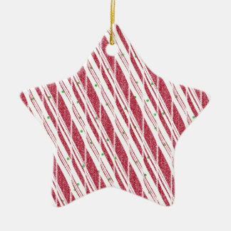 Frosty Red Candy Cane Pattern Ceramic Star Ornament