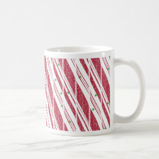 Frosty Red Candy Cane Pattern Coffee Mug