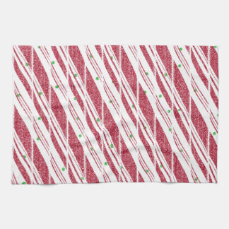Frosty Red Candy Cane Pattern Hand Towel