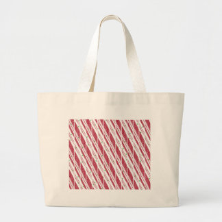 Frosty Red Candy Cane Pattern Large Tote Bag