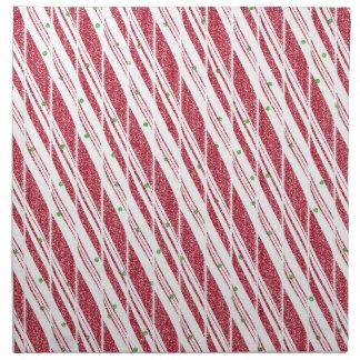 Frosty Red Candy Cane Pattern Napkin