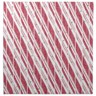 Frosty Red Candy Cane Pattern Napkins