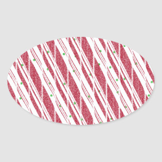 Frosty Red Candy Cane Pattern Oval Sticker