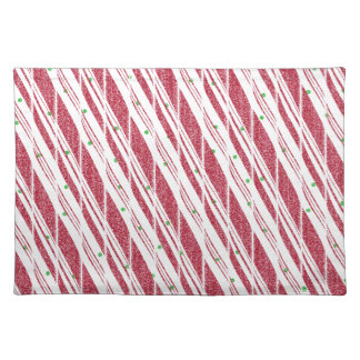 Frosty Red Candy Cane Pattern Place Mats