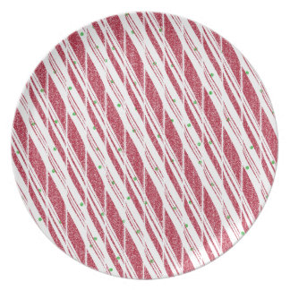 Frosty Red Candy Cane Pattern Plate