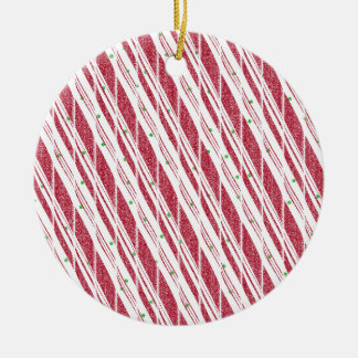 Frosty Red Candy Cane Pattern Round Ceramic Ornament