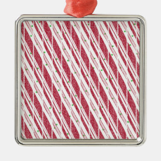 Frosty Red Candy Cane Pattern Silver-Colored Square Ornament