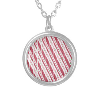 Frosty Red Candy Cane Pattern Silver Plated Necklace