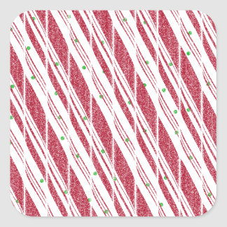 Frosty Red Candy Cane Pattern Square Sticker