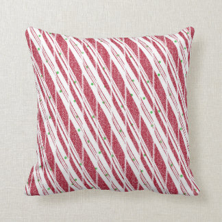 Frosty Red Candy Cane Pattern Throw Pillow