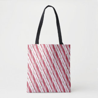 Frosty Red Candy Cane Pattern Tote Bag